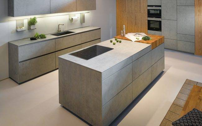 german kitchens cardiff - handless kitchen island