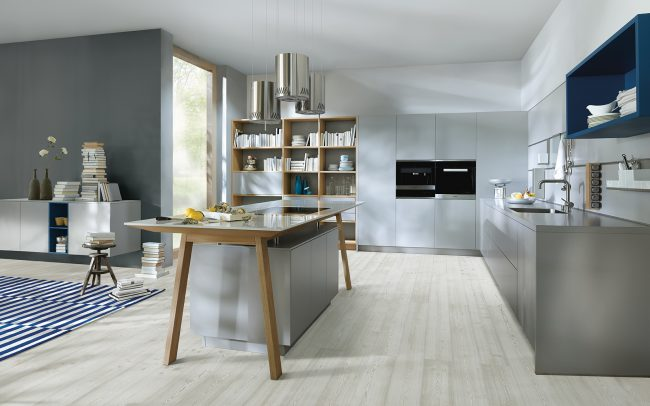 Next 125 German Kitchens in Cardiff - NX500 Satin Lacquer - Crystal Grey