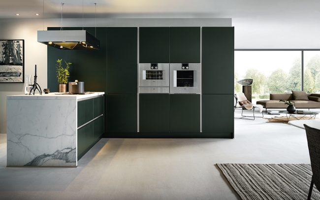 Next 125 German Kitchens Cardiff - NX500 Satin Lacquer Green