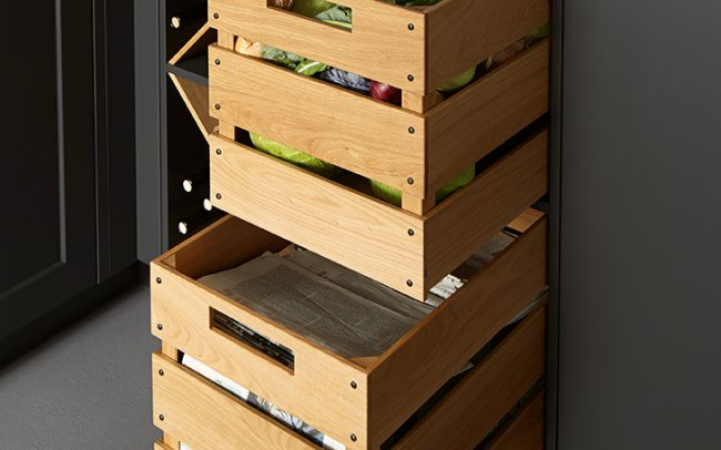 Schuller German Kitchens - Storage Solutions - Pull Out Storage - pull out oak baskets