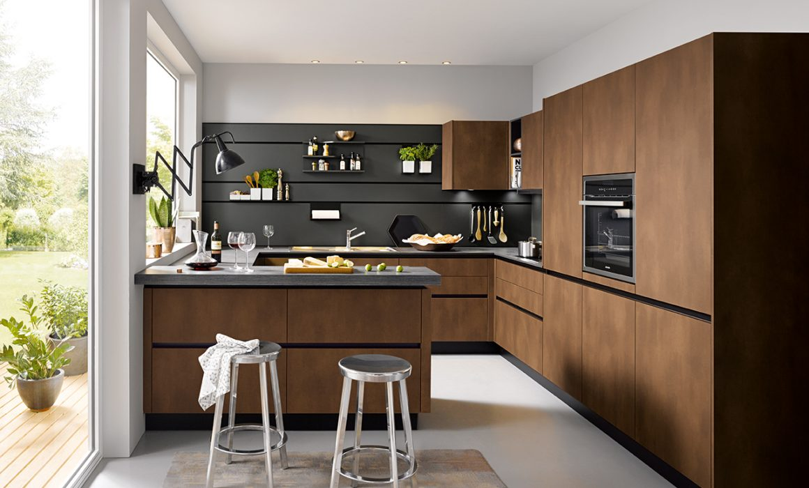 Lava Black Panelling with Integrated Rail - Schuller Kitchens Cardiff - Schuller Kitchens Cardiff