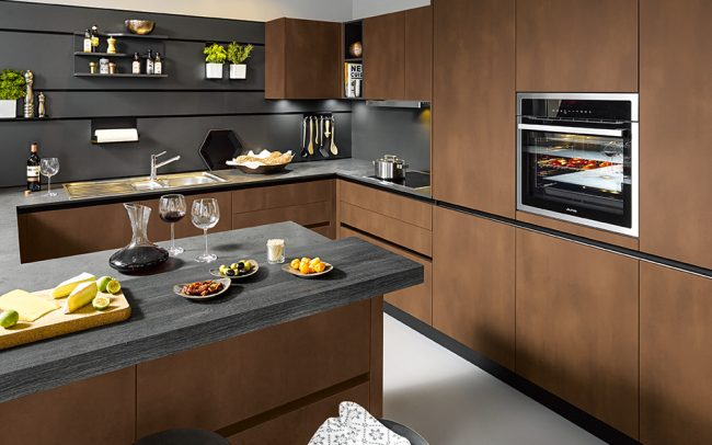 Lava Black Wall Panelling with Integrated Rail - Schuller Kitchens Cardiff - Schuller German Kitchens Cardiff