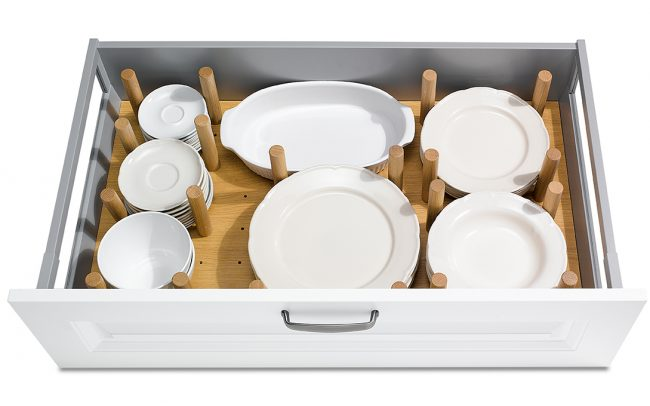 Schuller German Kitchens Cardiff - Plate Organiser - Natural Oak