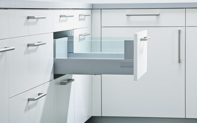 Schuller German Kitchens Cardiff - Pull-Out with 8mm Toughened Design Glass Boxside