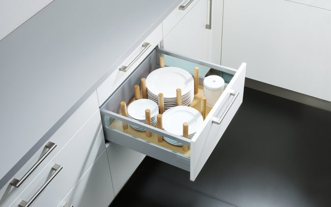 Schuller German Kitchens Cardiff - Oak Plate Organiser